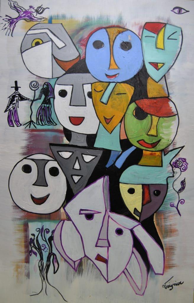 Huile sur toile (100×65) Assemblage de formes géométriques transformées en masques sur fond blanc, couleurs chaudes au centre. En diagonale, masques gris et blancs pour moitié, masques aux couleurs chaudes pour l'autre moitié. Symboles et petits dessins en périphérie de la toile.